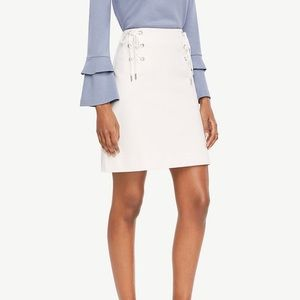 Ann Taylor Lace Up Skirt White 6